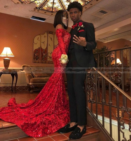 2020 Off Shoulder Mermaid Red Prom Dresses Long Sleeves Sparkly Sequin African Formal Party Gowns vestidos de fiesta Real Photos