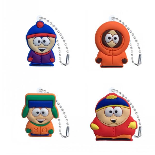 MOQ = 20 unids South Park Llaveros Cadenas de bolas para los bolsos de escuela Ropa Accesorios del sostenedor dominante del coche Moda Colgar Adorno de la decoración como el mejor regalo