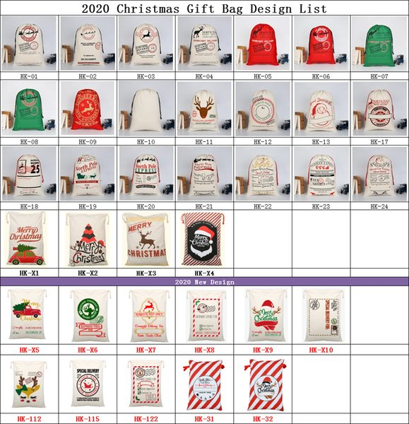 Large Christmas Gift Bags Organic Heavy Canvas Bag Santa Sack With Reindeers Santa Claus Drawstring Gift Bag for kids