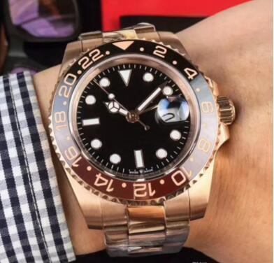 2019 New Rose gold GMT2 V3 Version mens watch automatic movement Ceramic Rotating Bezel sapphire glass steel strap wristwatch