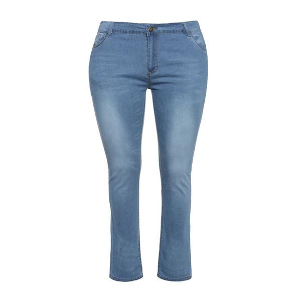 Kadın Artı Boyutu Kot Bahar Yeni Basit Vintage Denim Açık Mavi Yüksek Bel Pantolon Kadın Sokak Rahat Elastik Skinny Jeans