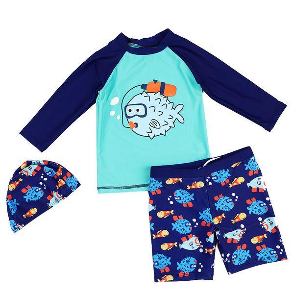 Kids Boy Two Pieces Swim Suit Cartoon Fish Sunblock Beach Bodysuit With Cap Boys Swimwear 2-13y Children Swimsuit Surfing Wear Y19072501