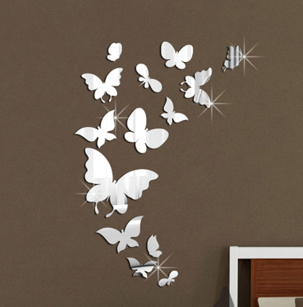 3d Butterfly Mirror Wall Stickers Diy Art Wall Decor Stickers Home Decor Living Room Mirrored Decorative Sticker Used Wedding Decor Wedding Decor