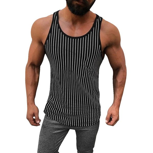 Men Jogging Vest Running Shirt Compression Tights Striped Vest Gym Tank Top Shirts Fitness Sleeveless T-shirts Sports Clothings