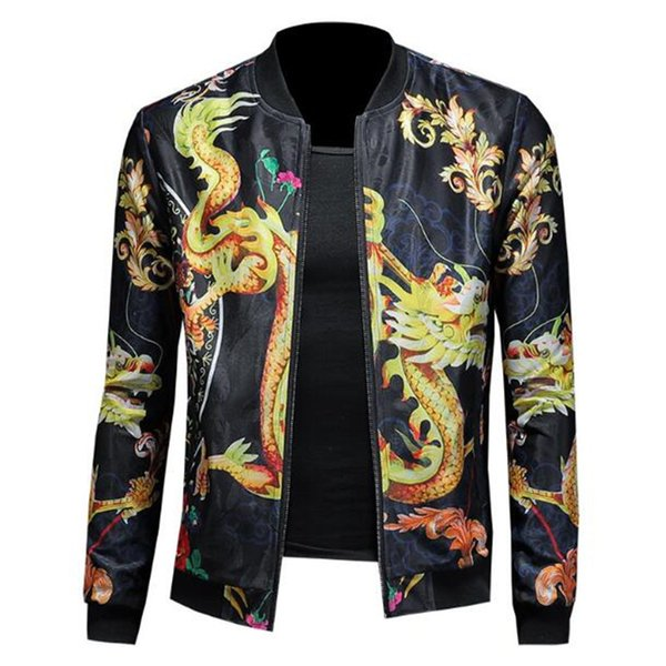 Royal Dragon Garment Jacket 2019 New Ice Silk Chinese Wind Dragon Impreso Chaqueta Hombre Béisbol Leading Street 5XL