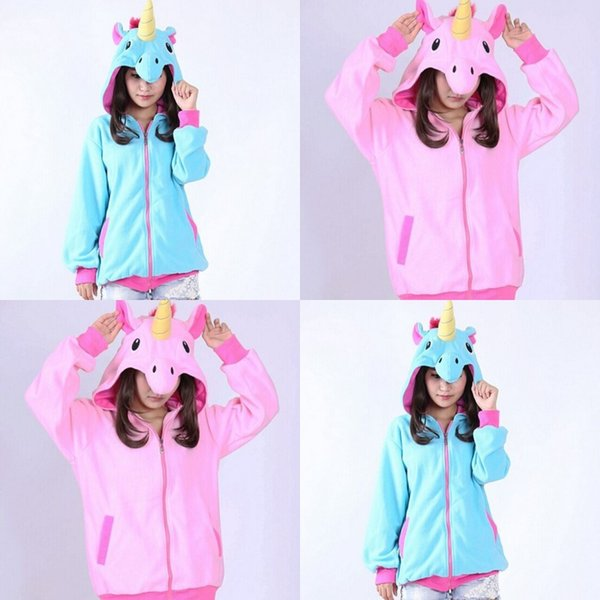 Pink Blue Zipper Hoodie Autumn Warm Long Sleeve Women Fashion Sweatshirts Fleece Catching Unicorn Cartoon Sweater Student Cute 34dy hh
