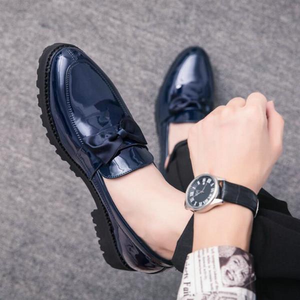 Hommes de luxe de style italien Oxford New Men Dress bow chaussures Shadow en cuir verni luxe mode marié chaussures de mariage LH-79