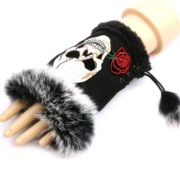 1 Pair Fashion Gloves women Half finger Gloves Embroidered skull Suede Winter Warm Wrist Girls Mittens Christmas gift