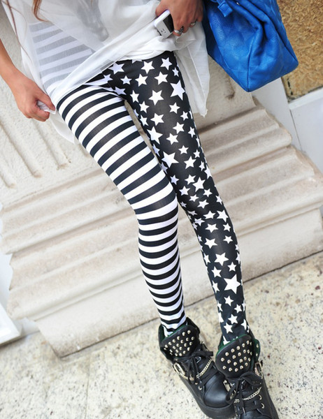 2018 Fitness Punk Printing Stretch Thin Horizontal Stripes Stars Pattern Stitching Cotton Patch Nine Pants Personality