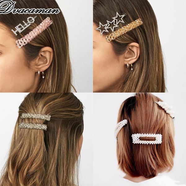 Dvacaman 2019 de moda flor de acrílico Barrerres para mujeres niñas encanto granos redondos pinzas de pelo joyería de la boda regalos del partido Hairwear