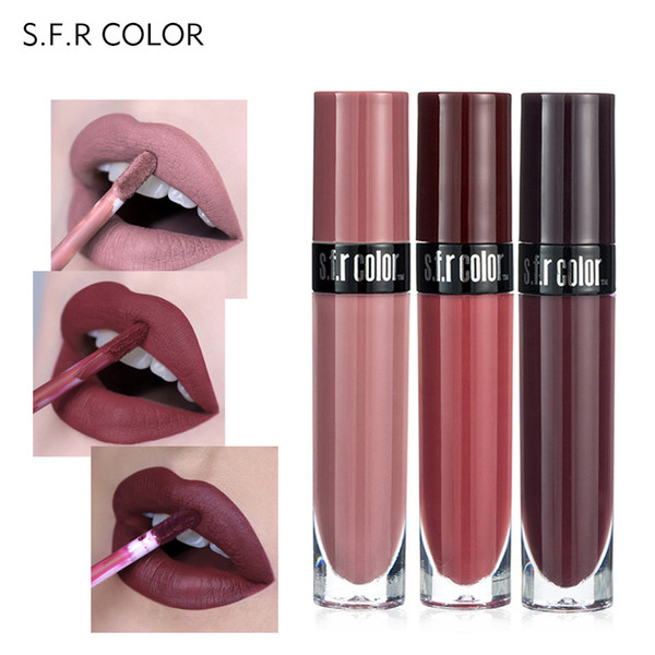 S.F.R New 8 Color Sexy Nude Lip Gloss Velvet Lips Tint Long Lasting Cosmetics Liquid Lipstick Waterproof Matte Lipgloss Batom