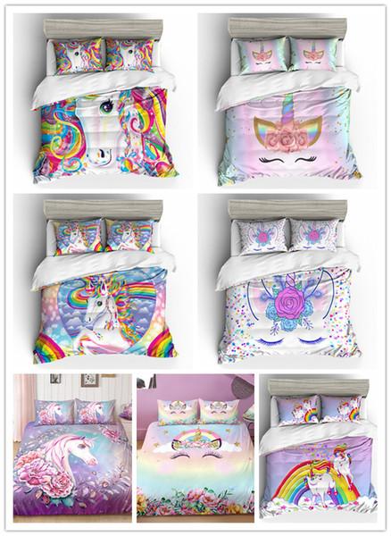 Niedliche rosa Einhorn-Bettwäsche-Sets für Mädchen mit Kissenbezügen für Einzel- und Doppelköniginnen in King-Size-Größe