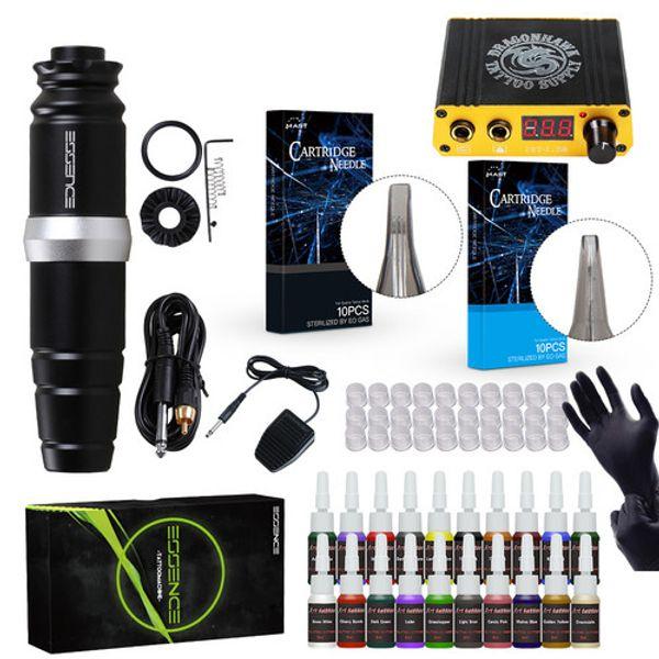 Professionelles Tattoo Pen Kit Rotary Motor Tätowierpistole Immotral Farbtintenset Needles Stromversorgung Komplettes Tattoo Kit D3035