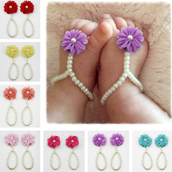 Infant Pearl Sandals Baby Rhinestone Beach Pearl Flower Barefoot Sandal Toddler Jewelry Shoes Cute Girl Accessories TTA848