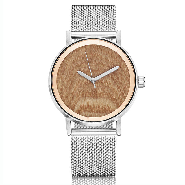 Creative Wood Watch Couple Wrist Watches Stainless Steel Strap Lover Gift Clock Natural Wooden Dial Wristwatch for Men and Women