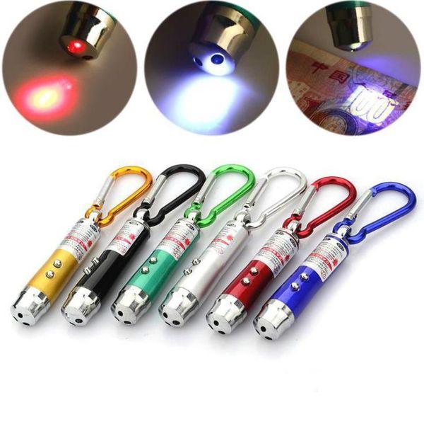 Lazer Pen 3 In 1 Mini Pointer Antorcha UV con llavero LED blanco Haz láser UV LED Tease the cat c853