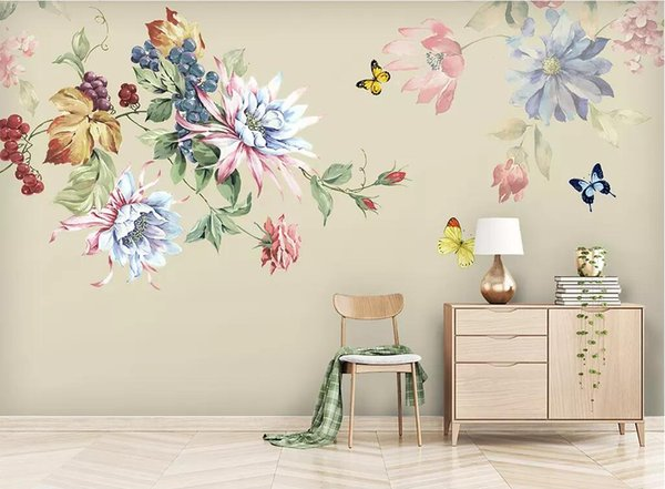 3d room wallpaper cloth custom photo Modern minimalist hand-painted oil painting flower European style wallpaper for walls 3 d