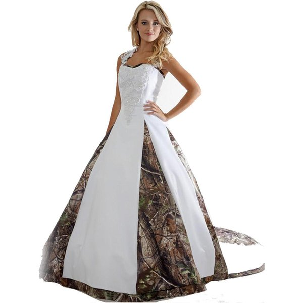 New Camo Wedding Dresses With Appliques Ball Gown Long Camouflage Wedding Party Dress Bridal Gowns