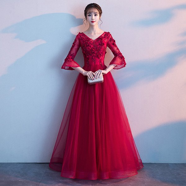 Pregnant Yarn Skirt Long Cheongsam Red Bride Marry Gown Qi Pao Women Traditional Chinese Wedding Dress Qipao Evening Dresses