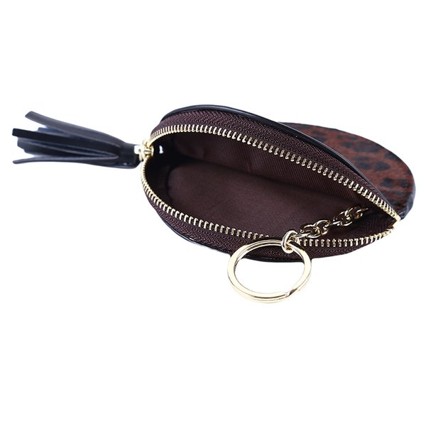 Retro Small Leopard Small Wallet Mini Round Zipper Coin Portable Key Bag Ladies Change Coin Purse Pouch Money Bag