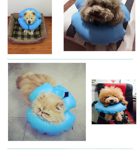 2019 New style Pet Inflatable Collar Dog Cat Puppy Plush Adjustable Anti-bite Protect Neck Ring Pet Supplying Soft PVC Material