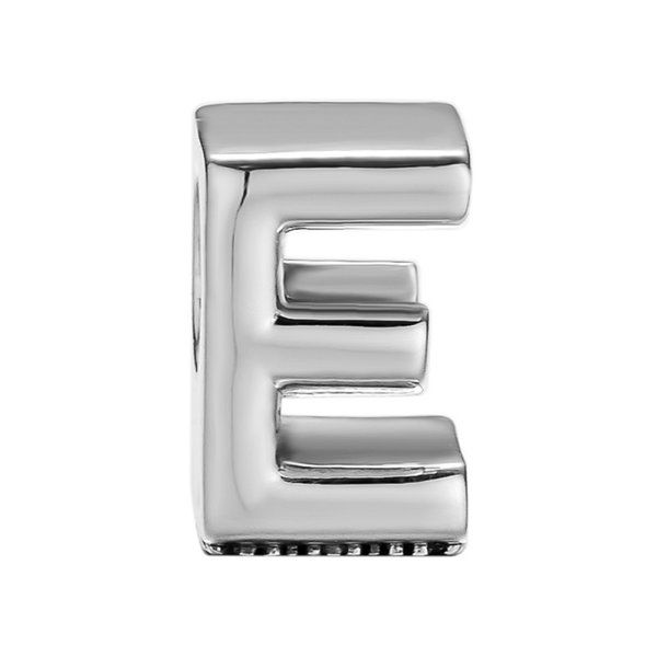 2018 New Alphabet Shape Letter E Silver Charms For Jewelry Making Women & Men DIY 925 Sterling Silver Jewelry Accessories