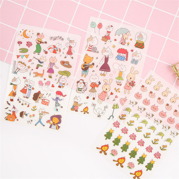 6 pcs/pack Mod Miss Cat Decorative Stickers Adhesive Stickers DIY Decoration Diary Stationery Stickers Children Gift 90*140mm
