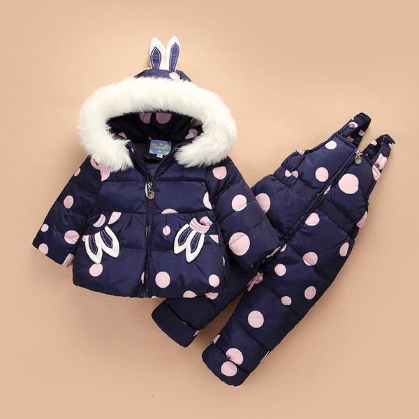 Winter Suit for Children Baby Girl Duck Down Jacket and Pants 2pcs Warm Clothing Set Thermal Kids Clothes Snow Wear