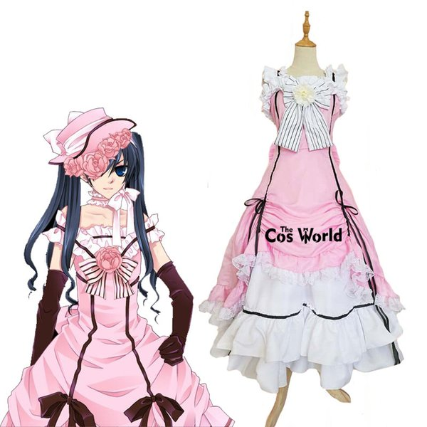 Accessories Cosplay Costumes Black Butler Kuroshitsuji Ciel Phantomhive Sleeveless Lace Maid Court Full Dress Uniform Outfit Anime Cospla...
