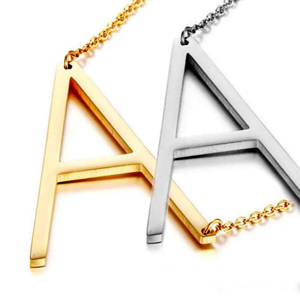 Paslanmaz Çelik A-Z İngilizce Alfabe İlk Harfler Kolye Kadınlar için Gümüş Altın Kaplama Sermaye Mektubu kolye Kolye