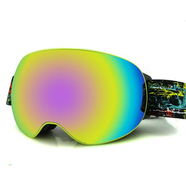 EDDIE FOX Hombres Mujeres Gafas de Esquí Doble Capa Gran Esférico Antimista Esquí Juegos de Gafas Gafas de Esquí Abrazadera Miopía Adaptador