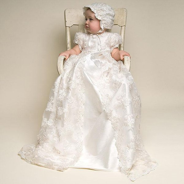 Three Pieces White/Ivory Lace Vestidos Infant Baptism Gown Baby Girl Christening Dresses Short Sleeve First Communion Dresses with Hat 11