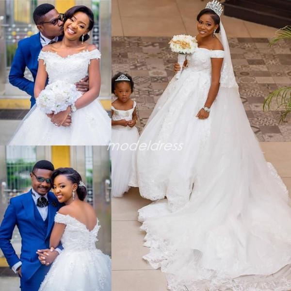 Off Shoulder White Wedding Dresses 2019 Backless Sweep Train Appliques Beads African Chapel Garden Bridal Gowns vestido de novia Plus Size