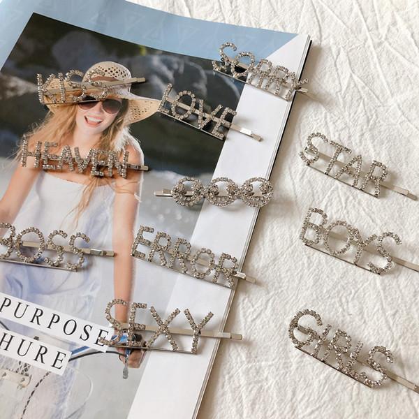 English letter hairpins barrette rhinestone words sexy sweet kiss women girls hair clips headpiece gifts hair accessories