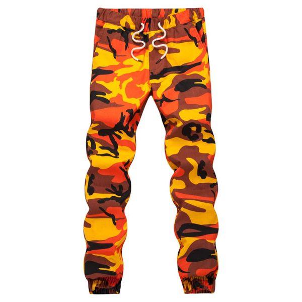 Orange Camouflage Jogger Pants Men Hip Hop Woven Casual Pants Tactical Trouser Pockets Cotton 2019 Sweatpants