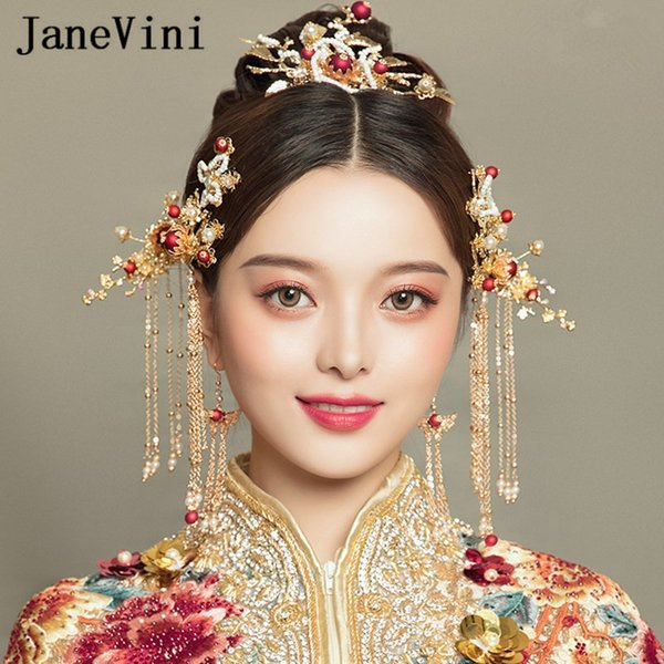 JaneVini Vintage Chinese Style Gold Bridal Headdress Hair Jewelry Handmade Flower Hairpins Long Tassels Brides Wedding Accessories 2019 New