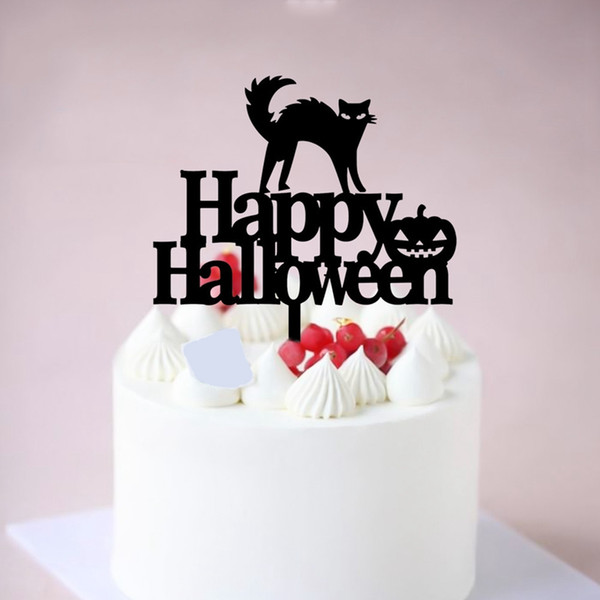 Acrylic Happy Halloween Insert Card Novelty Golden Black Cat Letters Cupcake Toppers Festival Holiday Party Cake Decoration