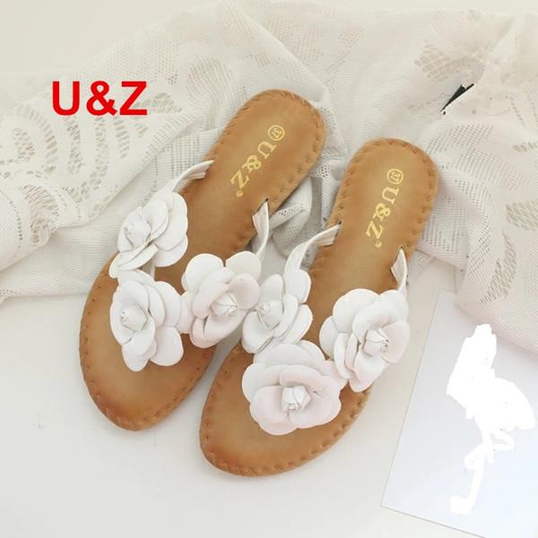 Yeni bez çiçek terlik New York kadın, Kadın çevirme çiçekler terlik tatlı sandalet Kamelya Ayakkabı plaj sandalet Yaz