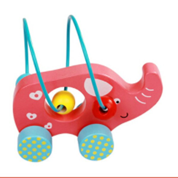 2019 Mini Wooden Toddler Cart Counting Circles Bead Abacus Wire Maze Roller Coaster Education Pull Car Toy BabyBirthday Gifts