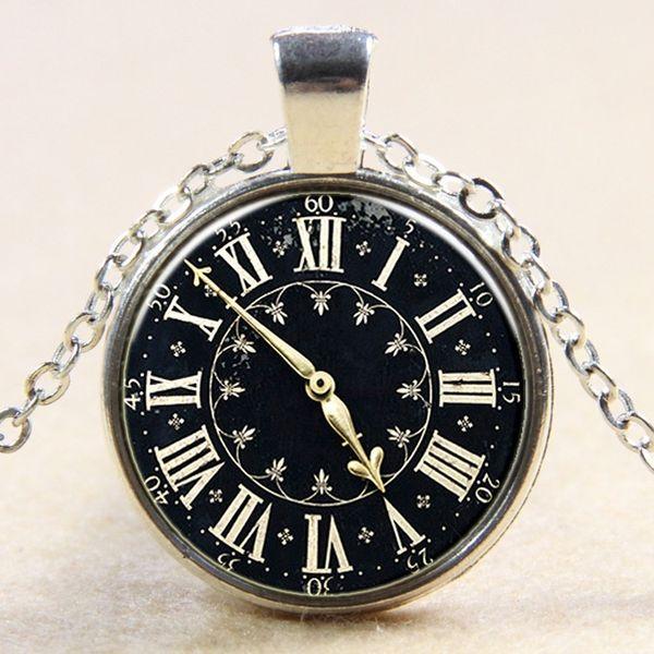 Retro black background symbol clock glass pendant necklace clock dial crystal necklace fashion jewelry necklace creative handmade