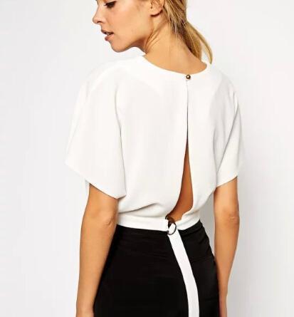 DT183 Fashion Damen stilvolle weiße Ernte Blusen Vintage O Hals sexy rückenfrei zurück geknotet lässig schlanke Marke Tops