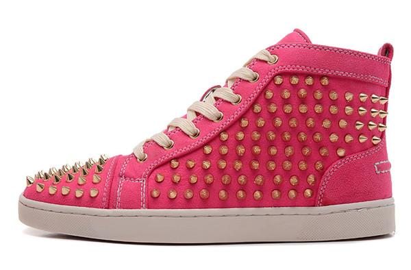 Red Rose Blue Suede High Top clouté Spikes Flats Casual Luxury Bas Rouge Chaussures Marque Nouveau pour Hommes et femmes Party Designer Sneakers t01