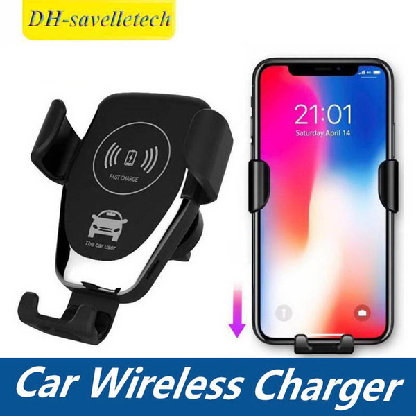 Car Mount 10W Qi Wireless Charger for IPhone XS Max X XR 8 Fast Wireless Charging Car Mobile Phone Holders for Samsung Note 9 S9 S8