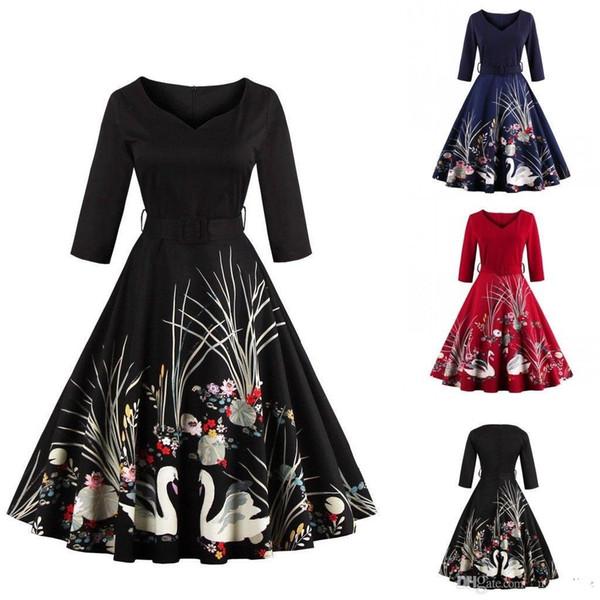 New Elegante Mulher Negra Roupas Com Decote Em V Cópia Floral Swan Retro Vestidos Casuais Tamanho Grande Vestido de Outono Do Vintage Vestido FS1163