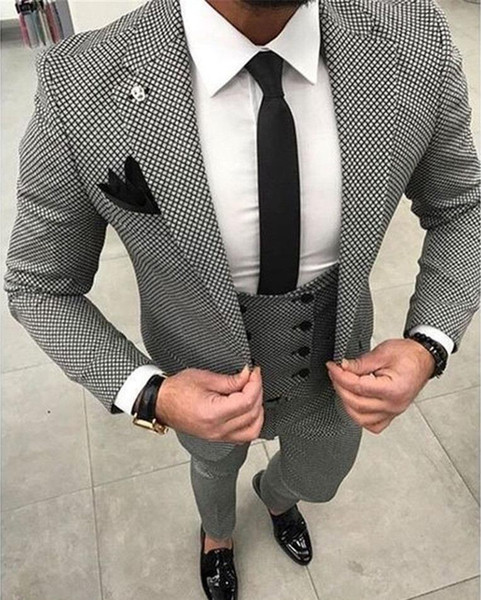 2019 Mens Checkered Suit Dresses Tailored black Weave Hounds Tooth Groom Tuxedos Check wedding men suits (jacket+pants) Formal Office Blazer
