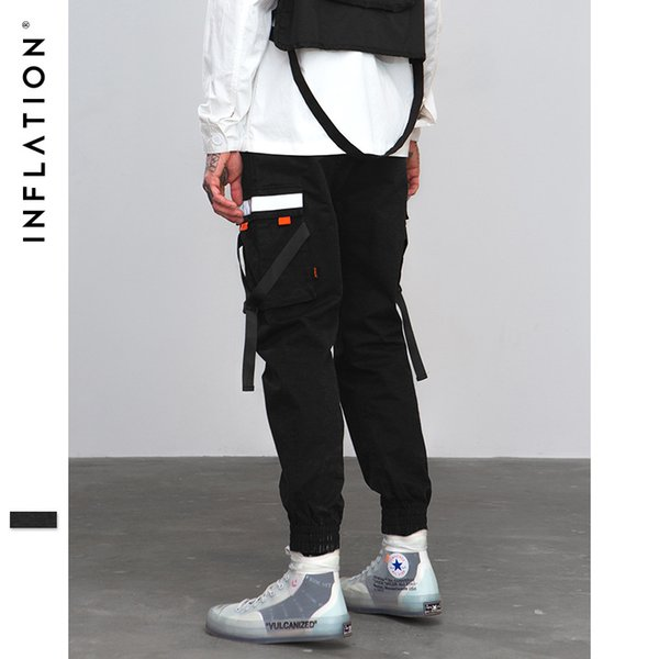 INF men overalls winter new casual fashion pants ribbon stitching multi-pocket silver reflective strips cotton comfortable Cargo Pants
