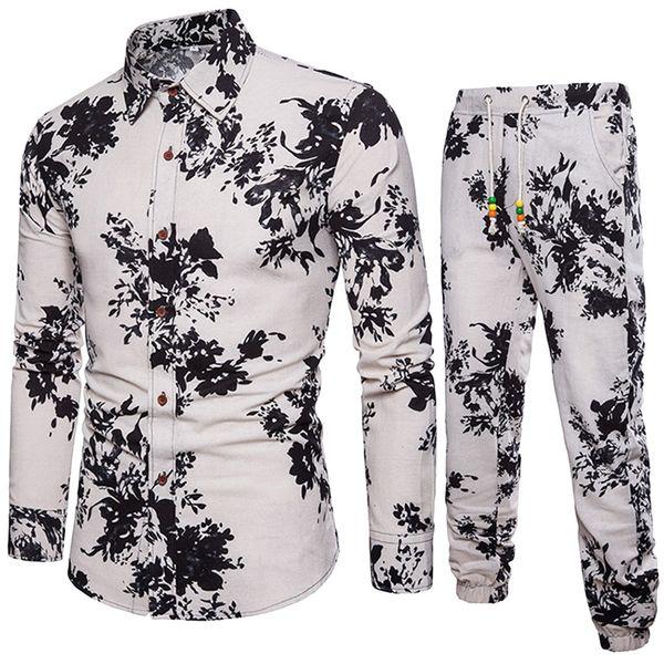 Print Hot Sale Men Set Beach Vacation Mens Party Pant Flower Shirts Hip Hop New Arrival Sets 2018 Funny Printed Male SuitsDec5