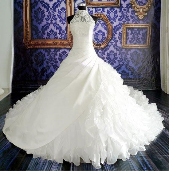 New Fashion Women's Clothing Apprael Elegant High Quality High Neck Halter Ruffle Lace Ball Gown Wedding Dress Bridal Gown Plus Size