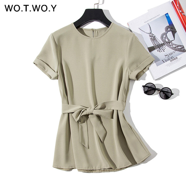 Wotwoy Plain Green Sashes T Shirts Women 2019 Spring Summer Casual O-neck Belt T-shirt Female Yellow Solid Woven Tops Harajuku S430