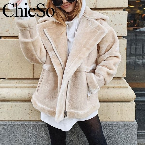 MissyChilli Leather suede faux fur jacket khaki warm winter women coats Casual streetwear long sleeve leather coat female jacket Y190920